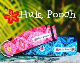 "Dog Collar ""Na Mele"" Blue Pink - Medium, Large, Wide, Adjustable // FREE SHIPPING"
