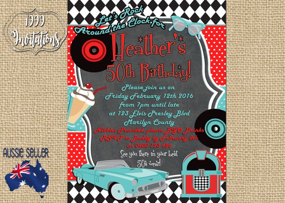 Printable Rock And Roll Invitation Rockabilly Party Rock