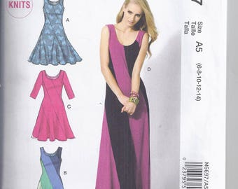 McCalls Pattern M6697 from 2013, Misses Dresses, close fitting and flared, bias, pullover.  Bust 30 1/2-36, UNCUT