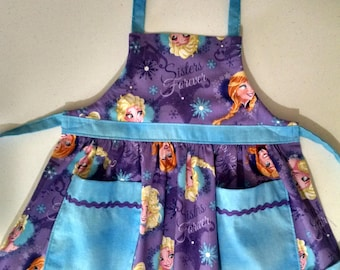 Girls Apron Frozen Apron with Pockets Toddler Apron Girls Apron