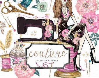 Couture Clip Art | Hand Drawn Craft Sewing Machine Flowers Fashion Illustration Girl Graphics | Planner Stickers  Digital Cliparts