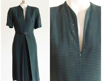 1940s green check day dress with belt