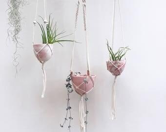 Pink planters, Mini hanging planters, macrame, indoor planter