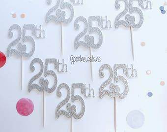 "12CT ""25th"" Cupcake Topper, 25 Birthday decor, 25th Anniversary"
