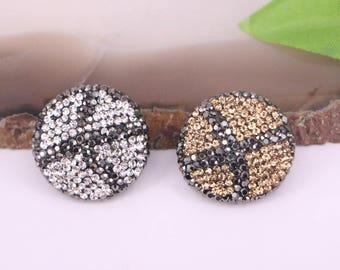 New 6Pcs Crystal Rhinestone Paved Beads,Round Charm Spacer Loose Beads For Jewelry Making