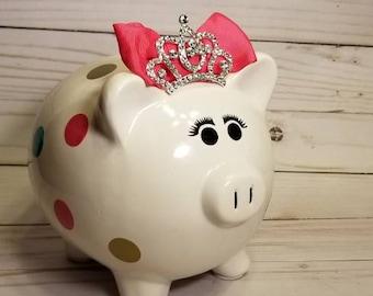 Princess Piggy Bank,Girls Piggy bank,personalized piggy bank,Baby shower gift,Newborn gift, Baby boy,Nursery,Custom piggy bank,Birthday gift