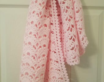 Handmade Crochet Pink Baby Blanket - Ultra Girly!