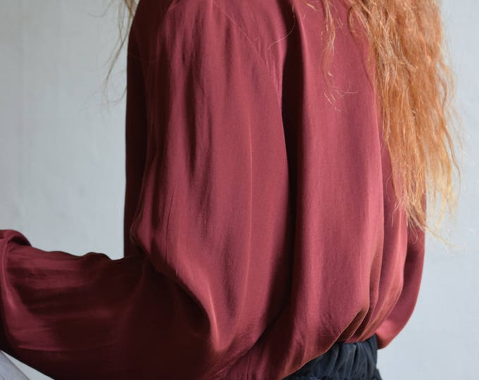 Cleo cranberry silk blouse |  pick your print