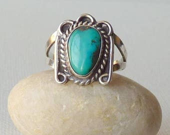Vintage Sterling Silver Turquoise Ring, Blue Genuine Turquoise, Southwestern Turquoise Ring Size 6.5 Turquoise 925 Ring, Turquoise Jewelry