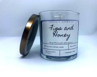 Figs and Honey Soy Scented Candle | Fruit Candle | Autumn Candle | Fall Candle | Gift for Her | Home Fragrance | Fig | Purple gift