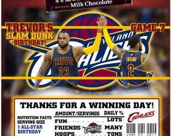Cleveland Cavalier's Basketball Candy Bar Wrappers Baby Shower or Birthday 1.55 oz. Hershey's Chocolate Nestle Crunch Lebron James Kyrie