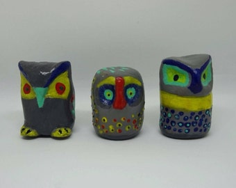 Miniature Owl (Set of 3), owl figure, ceramic owl, miniature ceramic owl, miniature animal, mini animal, tiny, little owl