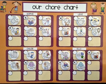 Family Magnet Chore Chart, Multiple Child Responsibility Chart, Kids Magnet Chore Chart, Children -- Regular or Personalized