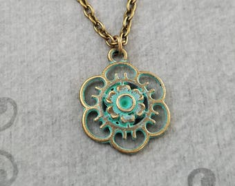 Filigree Necklace SMALL Filigree Charm Necklace Blue Patina Necklace Green Patina Jewelry Flower Necklace Grecian Jewelry Antique Necklace