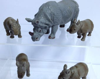 Rhinoceros Models Vintage African Animal Handpainted Solid Teaching Models Retired AAA & Schleich Models Destash African Diorama Animals