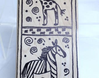 Jungle Animal Stamp Large Wooden Block Stamp with Frame Swirl Rubber Stamp Giraffe, Zebra Stamp, Scrapbooking Supply, Toy Shop Label Stamp