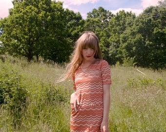 60s Psychedelic Striped Mini Go Go Dress