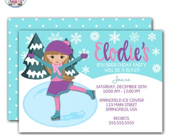 Ice Skating Invitation, Ice Skating Birthday Party Invitation, Ice Skate Invitation, Ice Skating Birthday Invitation, Ice Skating Birthday