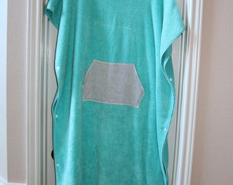 Adult Turquoise/Gray Hooded Poncho Towel for Swim or Bath