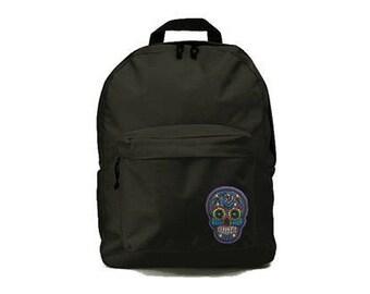 Black backpack with Skull/dia de los muertos patch 33x41x19cm