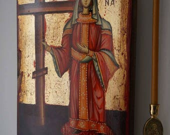 Saint St Helen (Helena) Handpainted Byzantine Orthodox Icon on Wood 30 x 20cm