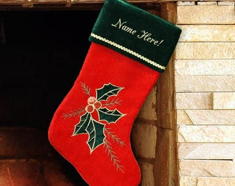 Holly Christmas Stocking, Holly Leaves and Berries Stocking
