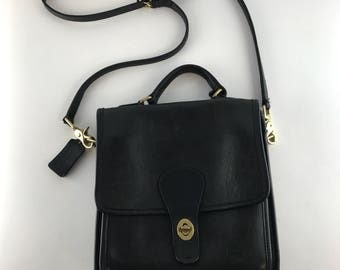 Vintage Black Coach Station Bag | Leather Crossbody Purse