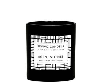 Agent stories, scented candle soy wax, 100% eco soy wax, vegan, scented candle, wooden Wick, gift, hand-cast