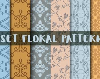 Floral pattern Svg, flower pattern, floral print, pdf pattern, art nouveau floral, pattern, Digital clipart, floral texture,  pattern stamp