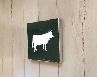COW small wood farmhouse sign
