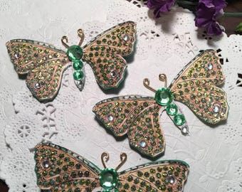 Emerald Oz Gem Bodied Butterflies DarlingArtByValeri Set for Scrapbooking Embellishment Mini Albums Cards Wedding Gifts