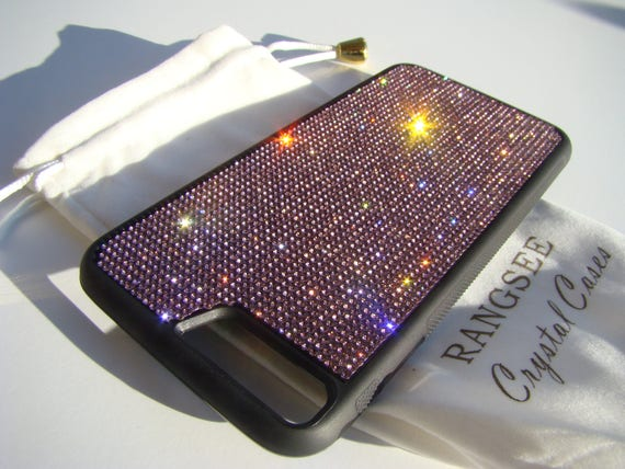 iPhone 8 Plus / iPhone 7 Plus Purple Amethyst Rhinestone Crystal on Black Rubber Velvet/Silk Pouch Bag Included, .