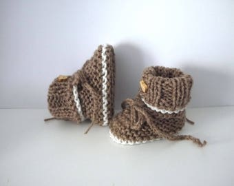 Mixed baby boy girl 0/3 month knit handmade taupe ecru wool bear
