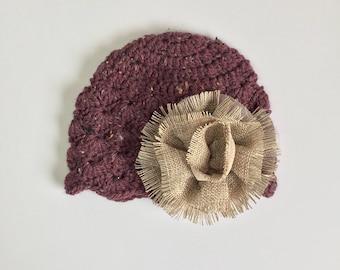 Purple Hat with Large Burlap Flower, Ready to Ship, Crochet Girls Hat, Girls Beanie, Baby Shower Gift Girl, Baby Girl Hat, Girls Winter Hat