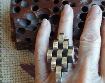 Sterling silver basket weave vintage ring, size 6
