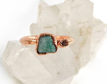 Raw Stone Ring, Emerald and Herkimer Diamond Ring, Raw Crystal, Electroformed Ring, Rose Gold, Green Gemstone, Healing, May Birthstone