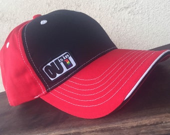 OUT is in USA Trucker Cap, Red and Black Cap,Pride trucker cap, Lesbian cap, LGBTQ baseball cap, Trucker hat, Gay Pride cap, trucker hat