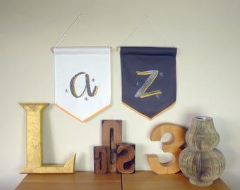 Custom letter pennant-grey. A Monogram wall hanging, alphabet grey flag, initial banner, wall art, Monroe font. Nursery gift, baby shower