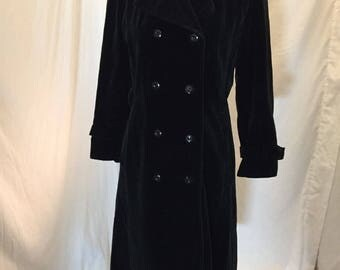 Vintage 60s 70s Drizzle Inc Black Velvet Long Jacket Double Breasted ILGWU Union Tag