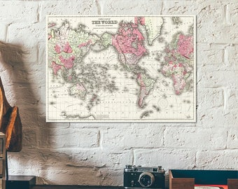 Worldmap by Colton 1865 - Worldmap - Old vintage map of the world - America centermap