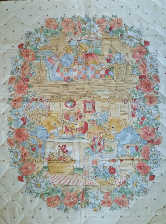 Vintage watercolor mouse tea party quilted fabric panel baby quilt vintage watercolor mouse tea party quilted fabric panel baby quilt baby blanket ready to finish from letssewthis on etsy studio gumiabroncs Gallery