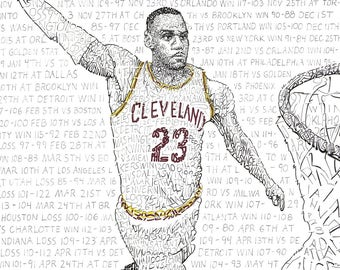 LeBron James Wall Art Poster Print – Cleveland Cavaliers Art - 16x20 - Free Shipping - Handwritten with scores of every game – Great Gift