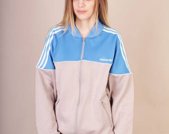 Cool vintage oldschool Adidas blue and grey  sweatshirt with white stripes // adidas logo // size M