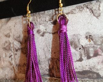 Tassel Earrings, Bright Purple Earrings, Purple Cotton Tassel, Rayon Tassel Earrings, Dangle Earrings, Valentine's Day Gift