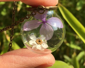 Glass necklace with true lilac-colored hydrangea petals, Valentine's Day gift