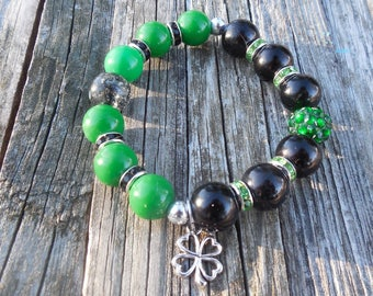 Green and Black or White St.Patrick's Day Bracelet