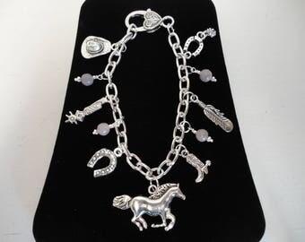 """8"""" Silver Western Cowgirl Charm Bracelet w/Lilac Stone Beads"""