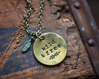 Wild & Free Necklace | Hand-stamped Brass Pendant Jewelry Feather Free Spirit Boho Bohemian