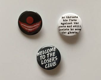 IT Losers Club Stephen King Pinback Buttons