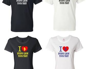 I Love Nuevo Leon Mexico T-shirt with FREE custom text(optional)